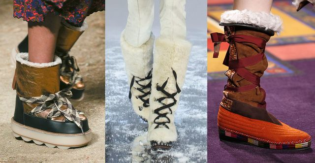 What shoes will you be wearing next winter? Strange stilettos perhaps, red thigh boots, or maybe celestial moonboots. One thing's for sure this season: shoes are works of art made for walking.