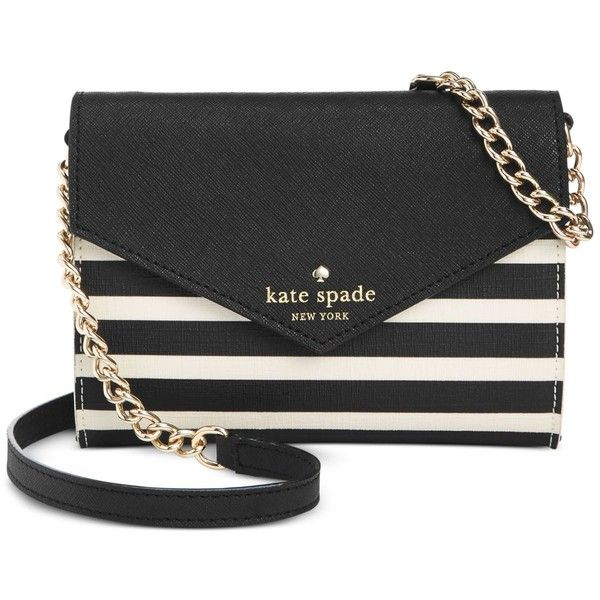 kate spade new york Fairmount Square Monday Crossbody ($128) ❤ liked on Polyvore featuring bags, handbags, shoulder bags, purses, beach purse, beach handbags, black crossbody, black cross body handbags and kate spade purses