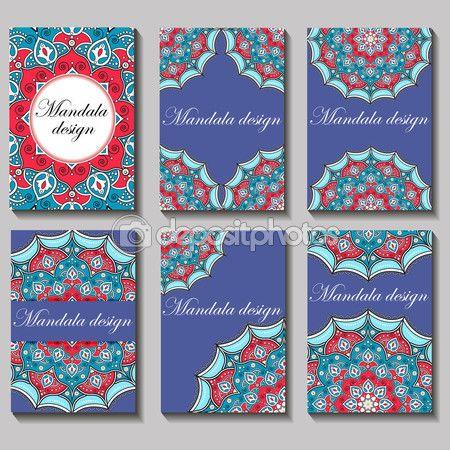 Baixar - Conjunto de vetor vintage cartão de visita. Ornamentos e padrão de mandala floral — Ilustração de Stock #113070760