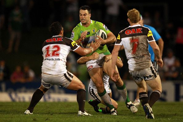 2014 NRL Round 5 Canberra Raiders V Penrith Panthers: David Shillington of the Raiders is tackled during the round five NRL match between the Penrith Panthers and Canberra Raiders at Sportingbet...