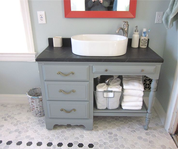 Upcycled Desk As Vanity. Soapstone Top. Turquoise And
