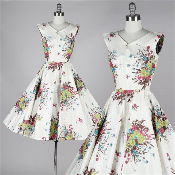 vintage 1950s dress . floral polished cotton by millstreetvintage, $185.00
