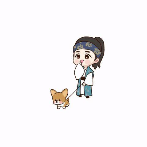 [FANART] Baekhyun como Wang Eun em 'Moon Lovers' com seu cachorro Mongryong.  (cr. DOPA)