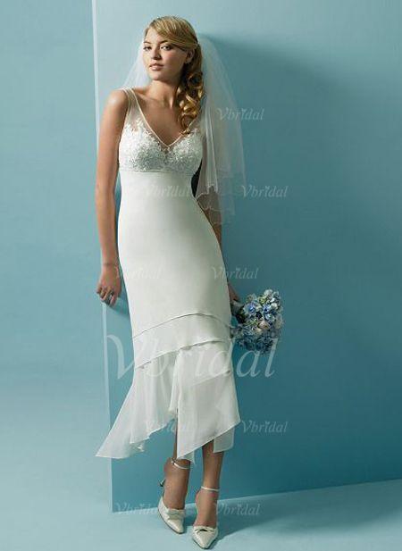 Wedding Dresses - $164.53 - A-Line/Princess V-neck Tea-Length Chiffon Tulle Wedding Dress With Lace Beading Sequins (00205001902)