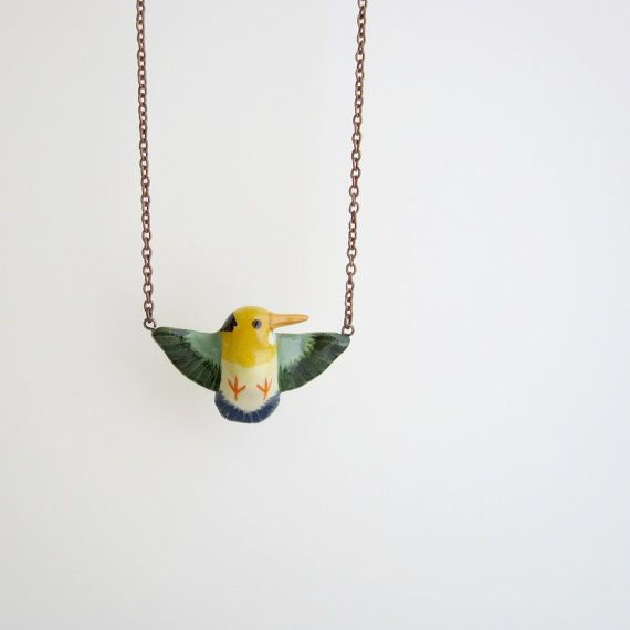 yellow-billed kingfisher necklace