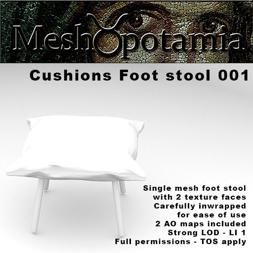 Meshopotamia Cushions Foot Stool 001 W AO textures