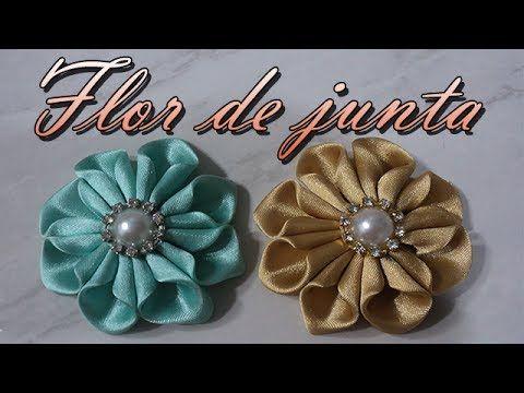 Flor de  Fitas de Cetim com Pétualas em forma de coraçao-DIY- PAP - YouTube