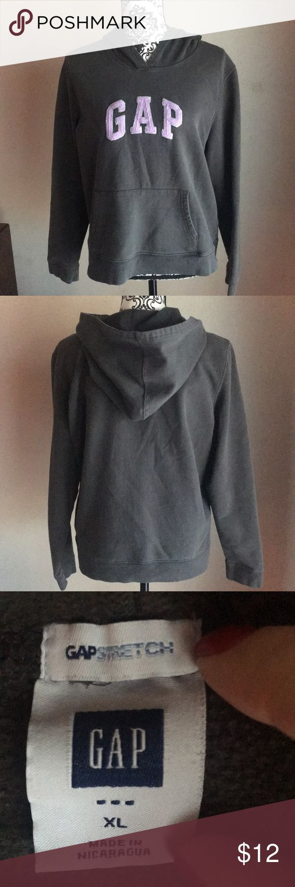 Ladies Sz XL Gap Stretch hoodie sweatshirt GUC Ladies Sz XL Gap Stretch hoodie sweatshirt GUC. Grey shirt with lavender stitched-on lettering. Very soft & comfy! Very good used condition, no holes, snags, tears or stains. Smoke free home. GAP Tops Sweatshirts & Hoodies