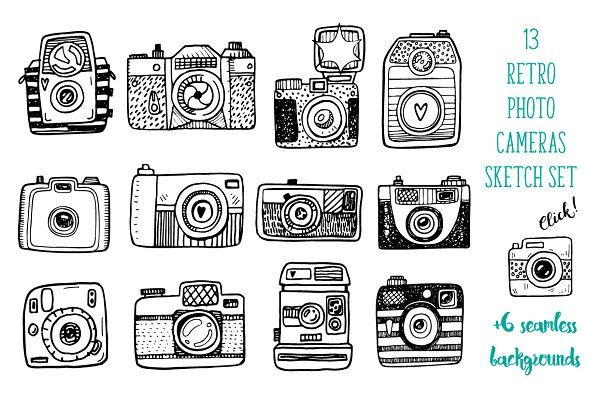 Hand drawn camera set +patterns - Icons