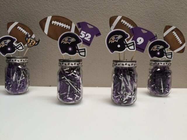 Football Themed Centerpieces - Super Bowl Party Centerpiece - Fantasy Football Party - Sports Banquet Centerpieces - Football Baby Shower by HeathersPartySpot on Etsy https://www.etsy.com/listing/210559304/football-themed-centerpieces-super-bowl