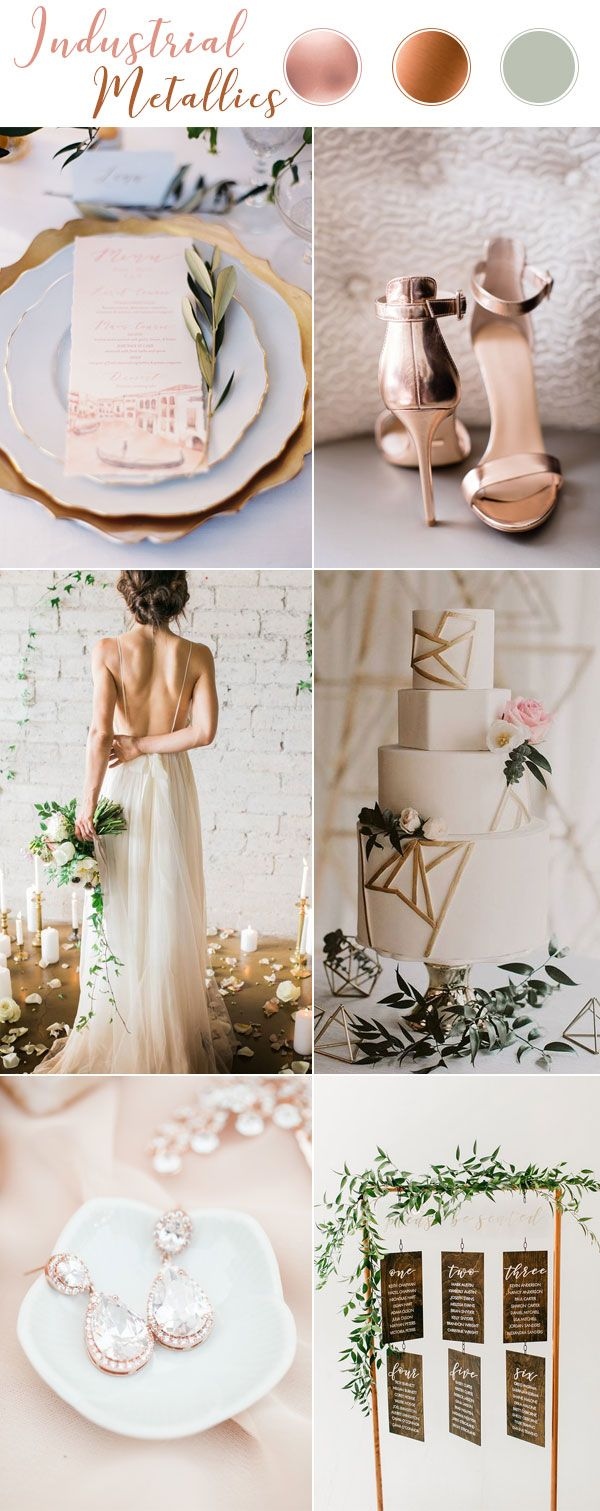 Industrial Metallics Copper and Rose Gold Wedding Theme Inspiration