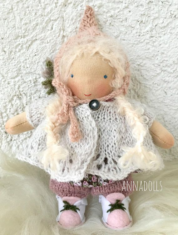Waldorf doll girl 7 inch. Pocket doll. Handmade doll.