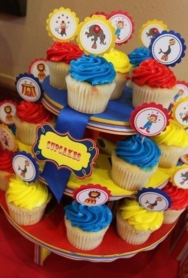 Circus Cupcake Toppers by tickledplum on Etsy, $15.00