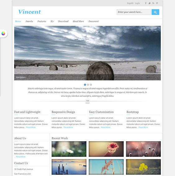 This minimal Joomla template features a responsive layout, a featured image slider, Bootstrap integration, support for Google Fonts and Analytics, easy background and color customization, CSS and JavaScript compression, and more.