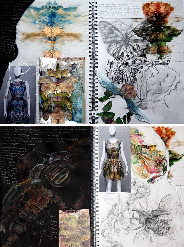 These sketchbook pages include observational drawings, dresses and fabric experiments (including distressed materials) that are inspired by insects. Designs are developed from original first-hand experience, with clear links between initial observational work and subsequent explorations with fabrics and garment forms.