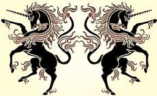 Spegelvända enhörningar • schablon till design •