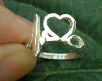 Registered Nurse Heart Beat Ring - EKG, ECG Doctor Nurses Jewelry - Valentines Day, Spring Wedding, Mother Day Gift Idea