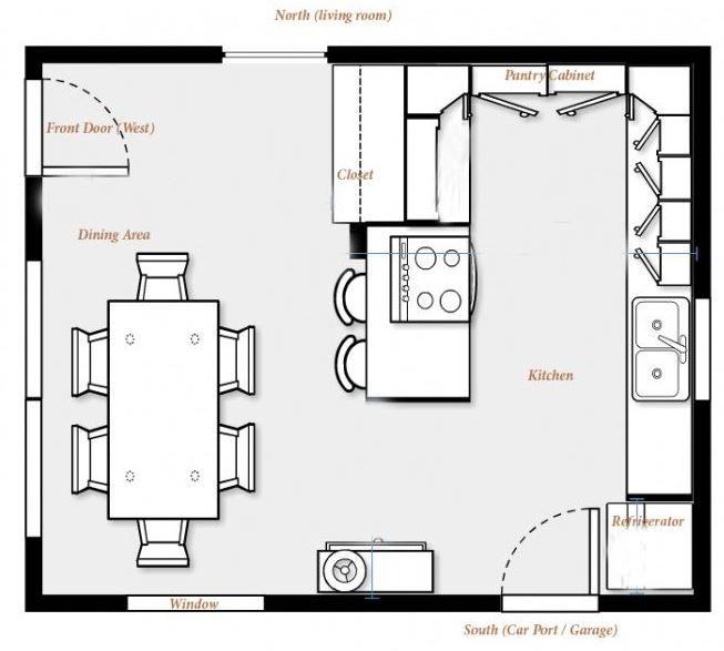 Planos de cocinas peque as con comedor casa pinterest for Plano de restaurante y cocina