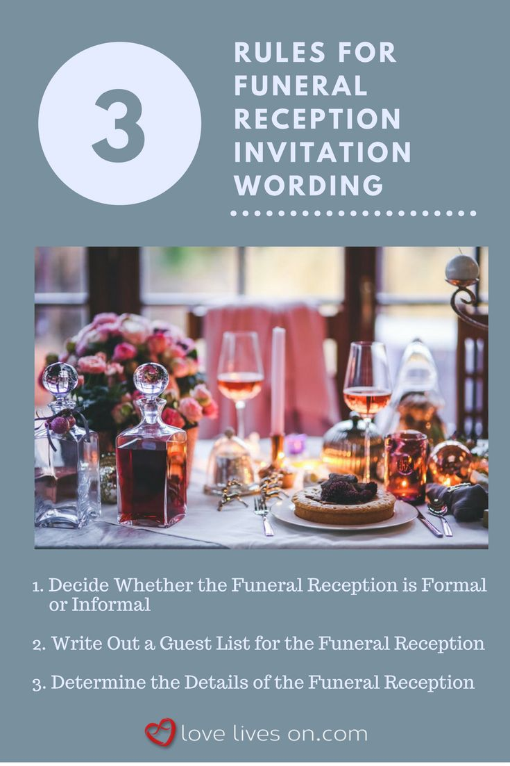 3 Easy Rules for Writing a Funeral Reception Invitation. Click through for wording samples 7+ wording samples to use in your funeral reception invitations today.
