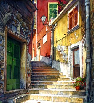 "Joel R. Johnson /  Stairway Cinque Terre / Size: 27x45"" / Watercolor Painting"