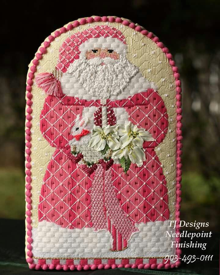 Santa needlepoint boxed pleated stand up