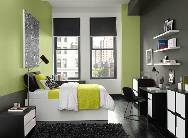 Schlafzimmer modern grüne Farbe Wand graue