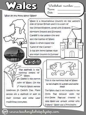 Уэльс - Рабочий лист (B & W версия)