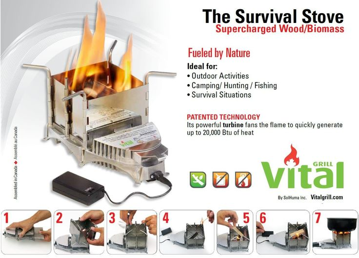 New Portable Emergency Survival Camping Lightweight Air Driven Wood Stove