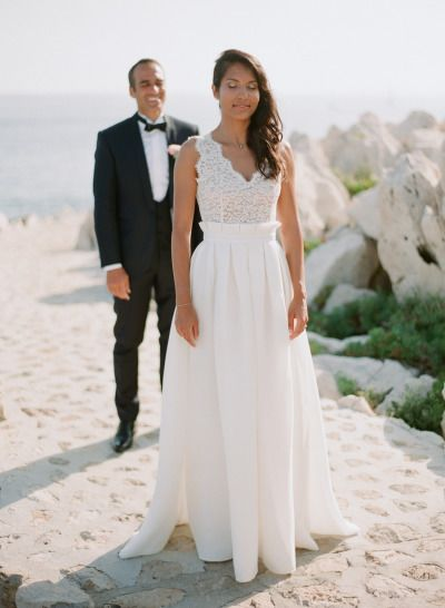First look on the beach in the French Riviera: http://www.stylemepretty.com/2014/12/19/glamorous-french-riviera-wedding/ | Photography: Greg Finck - http://www.gregfinck.com/