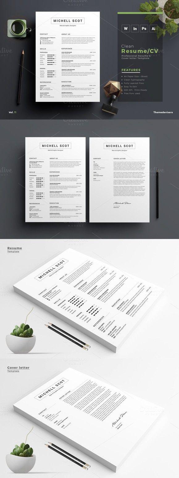 Minimal u0026 Clean ResumeCV Template Resume Templates