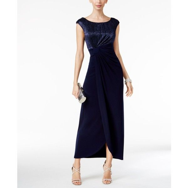 Connected Crinkled Metallic Faux-Wrap Gown ($89) ❤ liked on Polyvore featuring dresses, gowns, navy, white formal evening gowns, navy blue dress, formal dresses, formal gowns and formal ball gowns