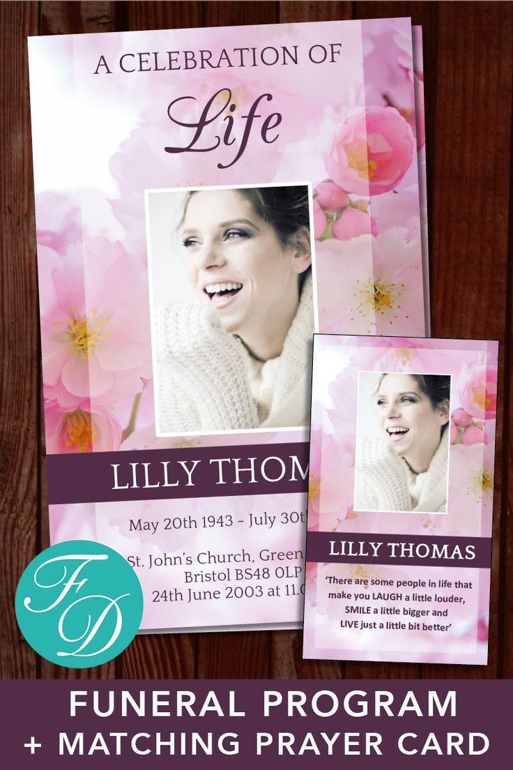 Pink Blossom Funeral Program Template Funeral Prayer Cards