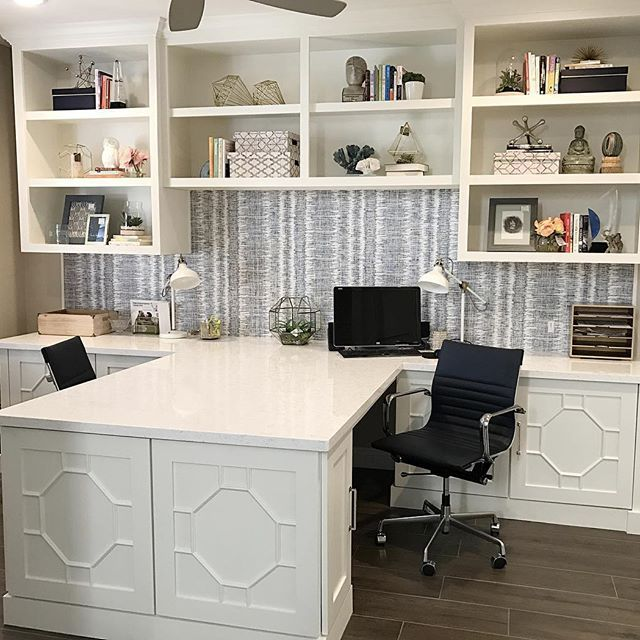 Custom Homeoffice Desk: Just Accessorized This Custom Built In We Designed Today
