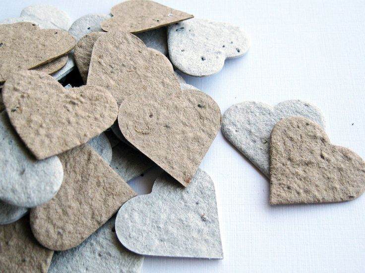 Plantable Seed Paper Hearts -100 Count - Recycled Grocery Bag and Newspaper - Eco Friendly,  Wedding Favors, Bridal Showers, Cards & Crafts. $13,00, via Etsy.