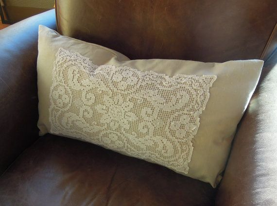 Shabby Chic Vintage Lace Pillow 13 x 23 by nikkidesigns on Etsy, $36.00
