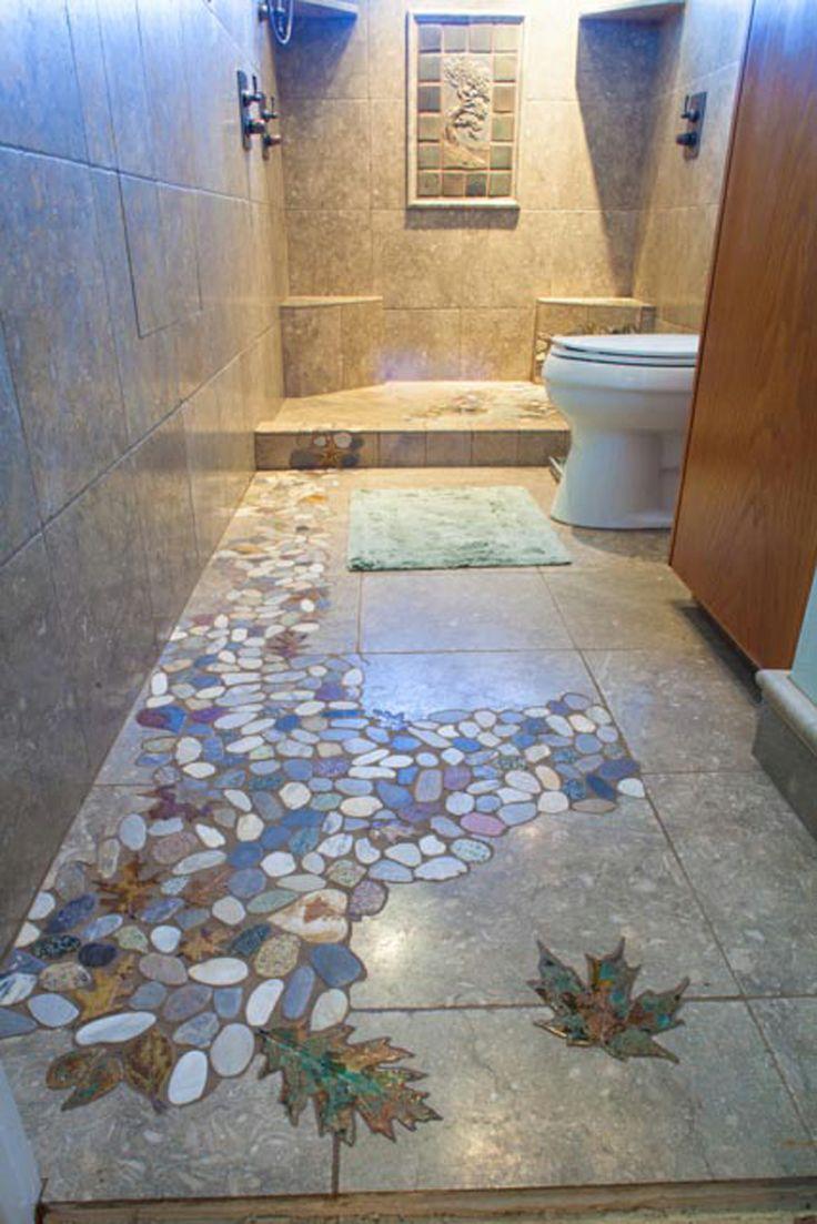 River Pebble Tile Showers   Stoneleaf Leaf Tile
