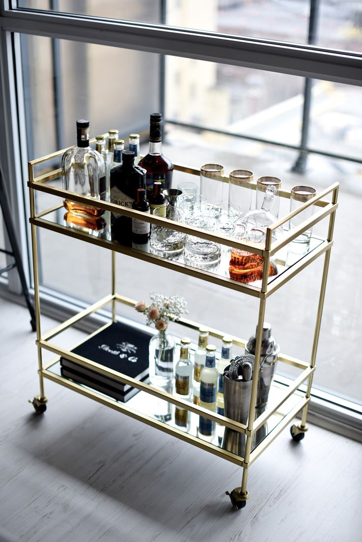Inspirational Bar Cart with Ice Bucket