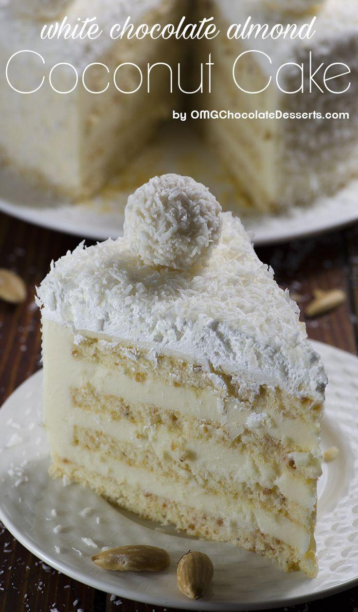 Mandlový kokosový dort je vynikající směs mandle, kokos, bílé čokolády a citronem chutí.