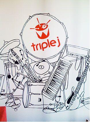 Triple J Drum Illustration Logo by Hoyne Design