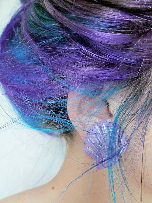 colored hair: Shells Earrings, Purple Hair, Hair Colors, Mermaids Hair, Mermaidhair, Blue Hair, Hair Style, Low Lights, Colors Hair
