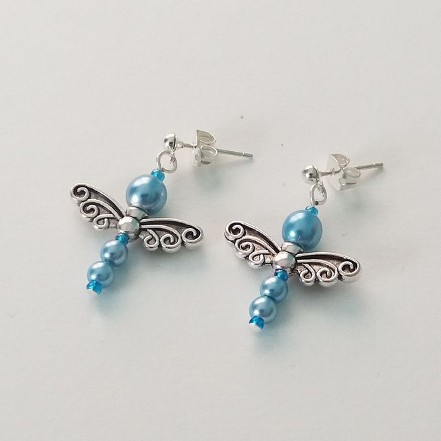 Pearly Dragonfly Earrings-Pastel Blue £4.00