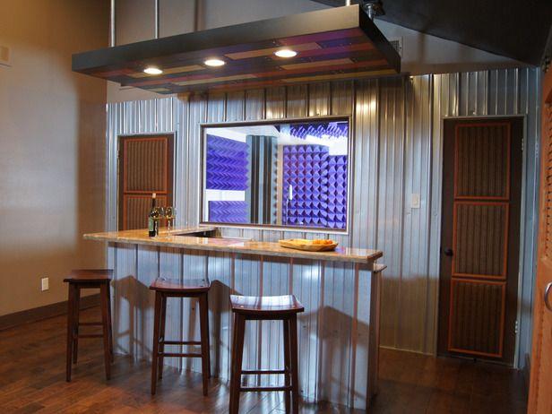 New home bar design ideas: Tins Wall, Home Bar Design, Bar Ideas, Basements Bar, Bar Counter, Bar Area, Corrugated Metals Wall, Metals Side, Lounges Area