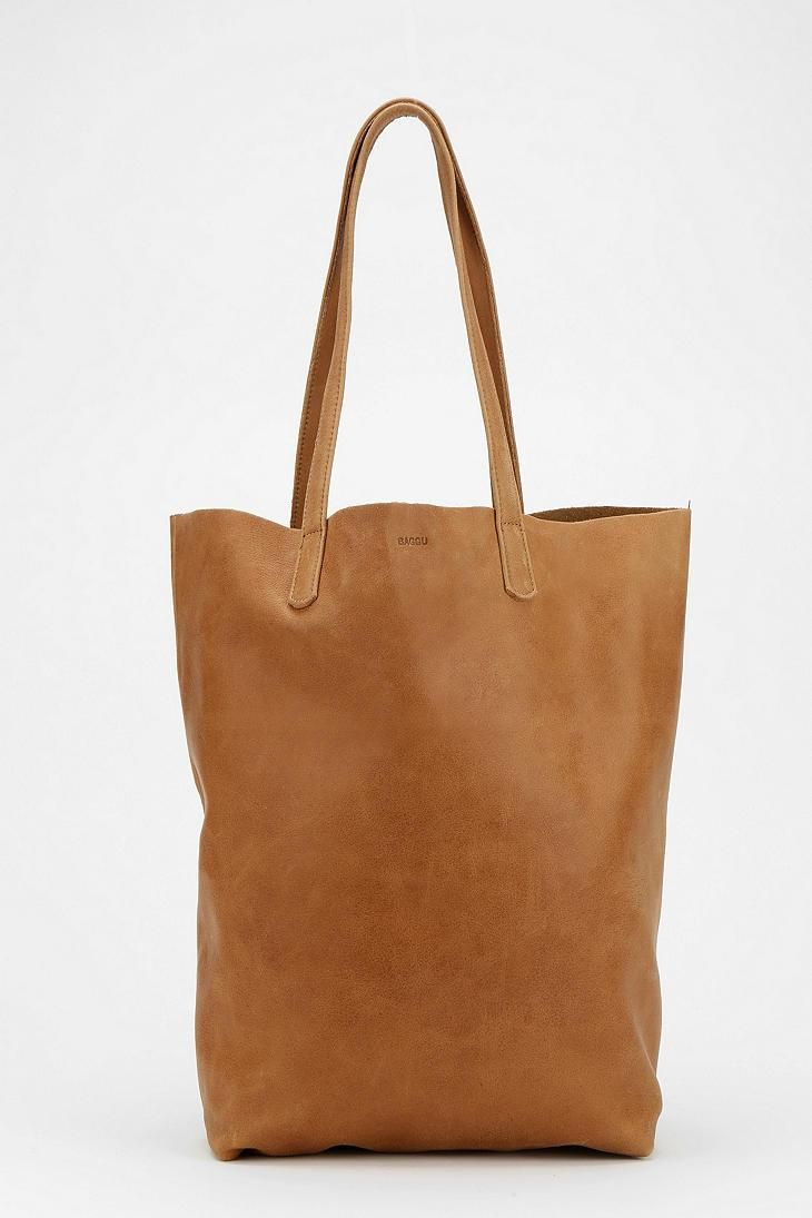 This BAGGU Basic leather tote bag is buttery soft, modern, and perfect. #urbanoutfitters