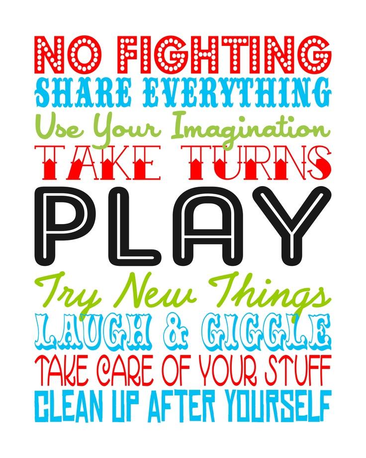Playroom Rules---free printable subway art.