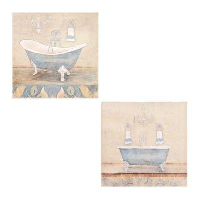 Blue Bathroom Canvas Art Prints Set Of 2