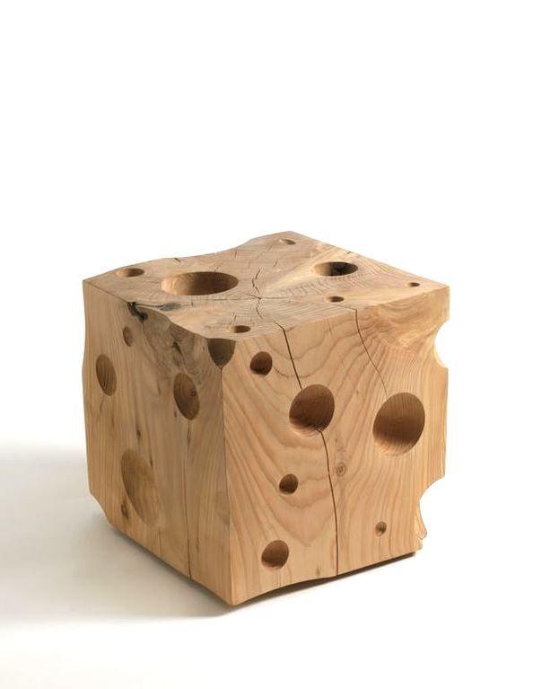 Swiss cheese wood stool by Riva1920