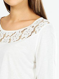 T-shirt manches 3/4 taille 38/40 - Tee-shirt encolure et dos en dentelle  - Kiabi