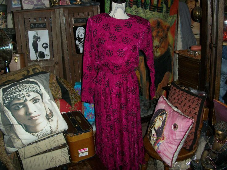 RAUL BLANCO Elegant Vintage Fuchsia+Black Silk Dress Size 8 #RAULBLANCO
