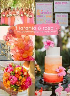 Decoração de Casamento : Paleta de Cores Laranja e Rosa   http://blogdamariafernanda.com/decoracao-de-casamento-paleta-de-cores-laranja-e-rosa