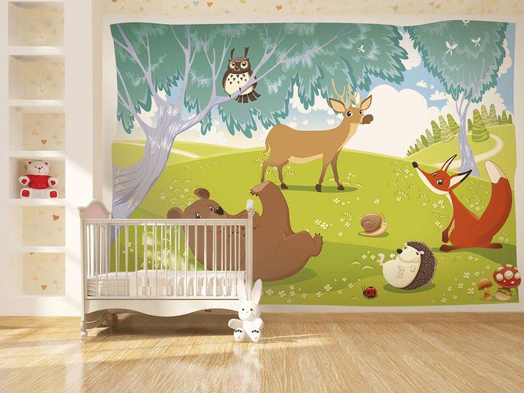 Papier peint chambre enfants - Animaux de la forêt. Décoration murale 100% réussie !